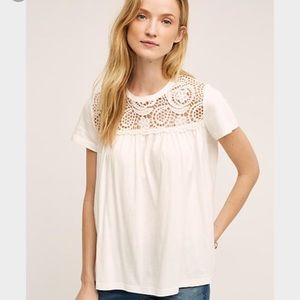 Anthropologie Tee with Lace Detail